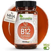 100% NATUR & REIN: Vitamin B12 KOMPLEX 3in1 MHA-Formel | MINI-Kapseln | Vegan | Hochdosiert | Deutsche Premium Qualität | Laborgeprüft | Made in Germany | 1000 mcg Methylcobalamin Hydroxocobalamin Adenosylcobalamin Präparat