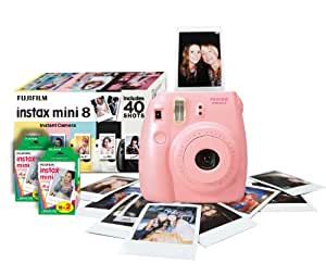 Instax Mini 8 Instant Camera Bundle with 40 Shots - Pink (Discontinued by Manufacturer)
