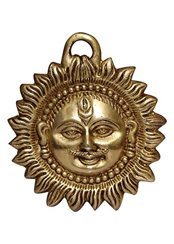 BRASS STATUE OF SUN FACE WALL HANGING 325 GMS 12X10X2 CM