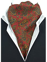 Baroque Ancient Paisley on Red Fine Silk Cravat