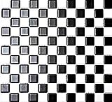 Mosaik-Netzwerk Mosaikfliese Quadrat schachbrett schwarz/weiß matt Keramik Mosaik, Mosaikstein Format: 2,5x2,5x6 mm, Bogengröße: 330x302 mm, 10 Bögen