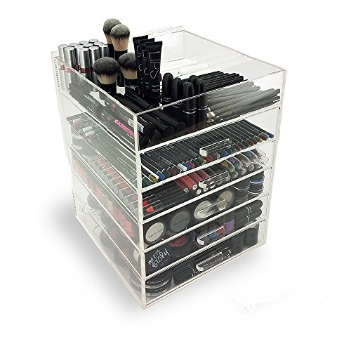 Display4top Acrylic Clear Cosmetic Makeup Organiser Box With 5 Drawers ,Keeping Your Lipsticks, Nail Polish, Makeup Brushes & Jewelry Stored Neatly,outline thickness 4mm (6 Tier Clear)