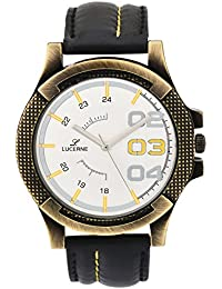 LUCERNE Analogue White Designer Dial Black Leather Strap Casual Gifts Watch For Men A Modern Men Watch Gifts For...