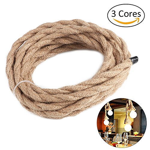 Seil-anhänger-beleuchtung (Vintage Seil Draht 5m Twisted Kabel Retro geflochtenen Seil Draht für Heimwerker Anhänger Lampe)
