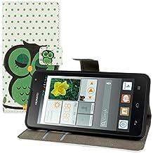kwmobile Funda para Huawei Ascend Y530 - Wallet Case plegable de cuero sintético - Cover con tapa tarjetero y soporte Diseño Búho dormilón en verde negro blanco