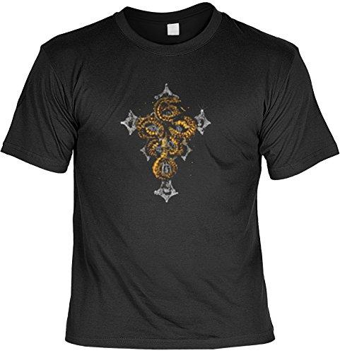 Biker Shirt /T-Shirt/Baumwoll-Shirt lässiger Gothic-Aufdruck: Kreuz - cooles Motiv Schwarz
