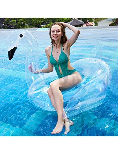 ihe Riesen Aufblasbare Pool Float Clear Swan Schwimmen Rohr Lounge Floß Für Sommer Pool Party Erwachsene Strand Spielzeug, ()