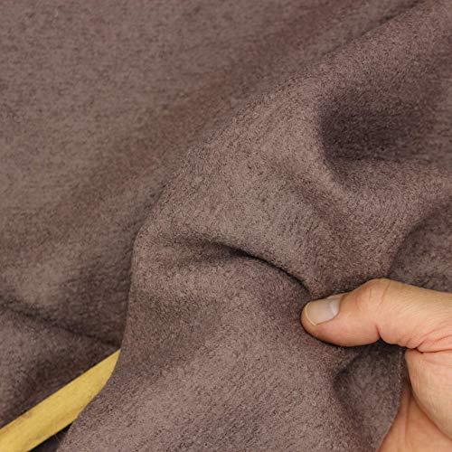 kawenSTOFFE - Tela de Lana Virgen, Color Berenjena y marrón grisáceo