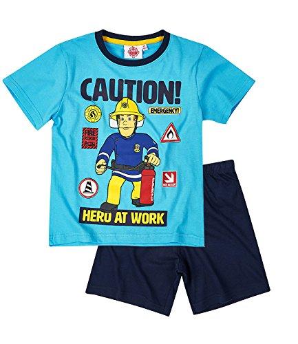 Feuerwehrmann Sam Jungen Pyjama Schlafanzug Shorty 2016 Kollektion - blau (110) (Blaue Sommer-pyjama)