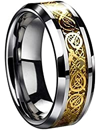 Men's Gold Dragon Scale Dragon Pattern Beveled Edges Celtic Rings Jewelry Wedding Band 10