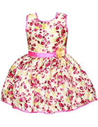 Chipchop Kids Girls Partywear Pink Floral Print Silk Dress - 1 Year, 2 years, 3 Years, 4 Years, 5 Years