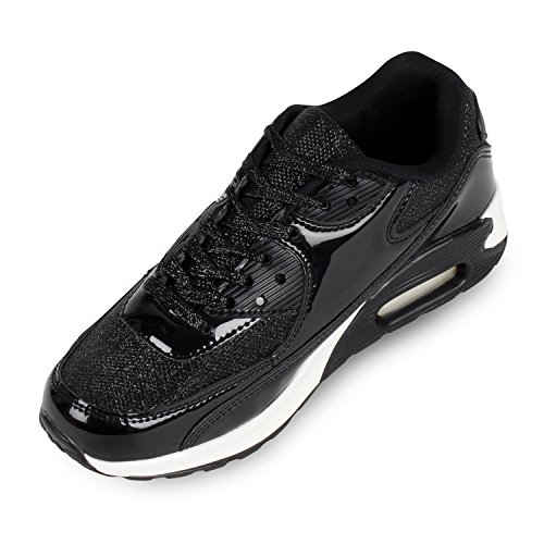 Trendige Unisex Laufschuhe | Damen Herren Kinder | Sportschuhe Metallic Glitzer | Camouflage Sneaker Bunt | Schnür Sport Turnschuhe Schwarz Lack
