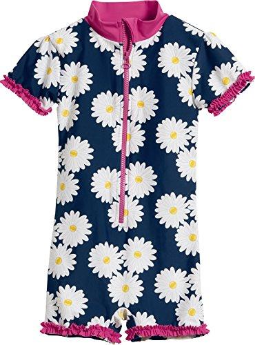 Playshoes Baby-Mädchen Badeanzug UV-Schutz Einteiler Margerite, Blau (Marine 11), 74 (Herstellergröße: 74/80)