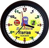 Lucky Clocks LERNUHREN Monster Schulanfang lustige Wanduhren zur Einschulung für Jeden Anlass mit jeder Beschriftung und Jedem Vornamen Namen erhältlich Auch Ganz Neutral
