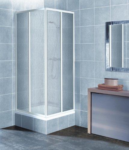 Eckeinstieg Duschkabine Kunststoffglas Tropfendekor Weisse Profile 75x75 75x80 75x90 90x75 80x75