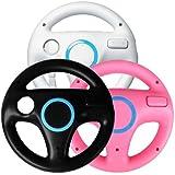 Generic 3 x pcs Black White Pink Steering Mario Kart Racing Wheel for Nintendo Wii Remote Game [Importación Inglesa]