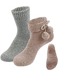 Damen Hausschuhe Home Slippers Gepunktet Bommel Antitrutsch-Sohle Wintersocken