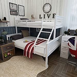 Panana White Solid Pine Wood Beautiful Triple Sleeper Bunk Bed Single and Double Bed Frame