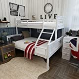 """Feifeiyo 1xSingle (3ft) & Double (4ft 6"""") Size Bunk Beds Wooden White Bedroom - Twin Sleeper No Mattress"""