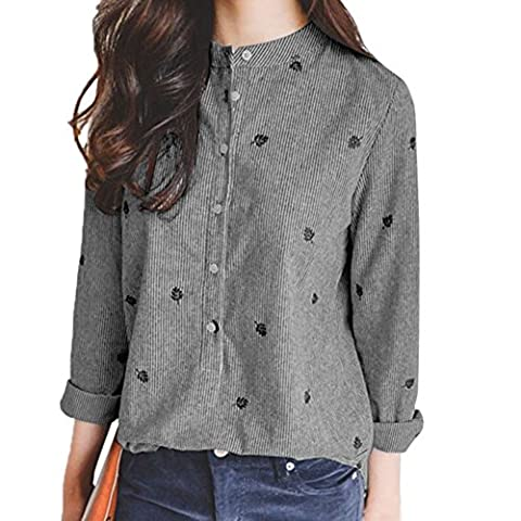 Balai Womens Long Sleeve Cotton Tops Casual Floral Embroidery Shirt Blouse M