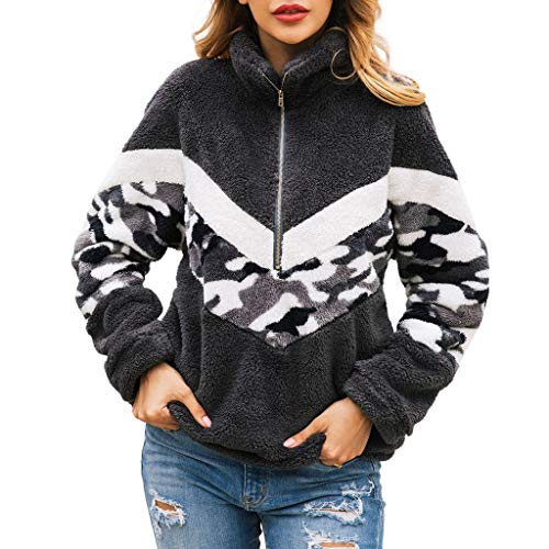 Xiangdanful Damen Hoodie Plüsch Camouflage Pullover Flannel Fleece Sweatshirt Jacke Mantel Patchwork Langarmshirt Oberteile Tops Herbst Winter Sweater Casual Pullis Coat Parka (S, Grau)