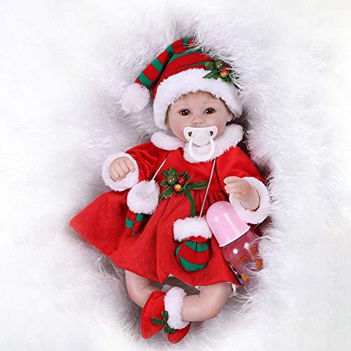 MnoMINI Puppe Reborn Babypuppe New Born Baby Baby Puppe Neugeborenes Baby Doll Silikon Spielzeug Puppe Jungen Mädchen Spielzeug Funktions Baby Puppe Kinder Geschenk Geburtstagsgeschenk (Neugeborene Mädchen Beruhigungssauger)