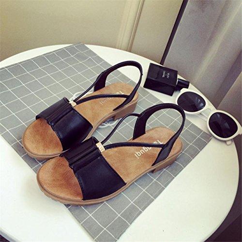 LHWY Damen Schuhe Bohemia Flat shoes Sandalen Schuhe Schwarz