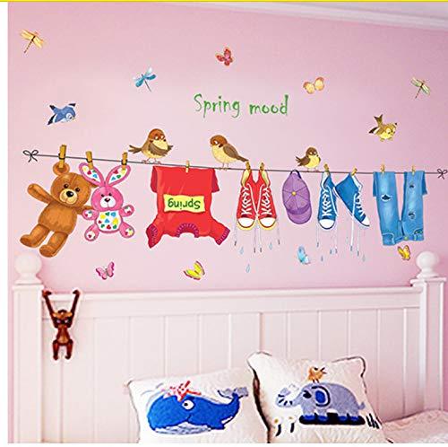 Wandaufkleber S Cartoon-Muster Trockene Kleidung Wohnzimmer Kinderzimmer Kindergarten Vorschule Tv Sofa Autocollant Wandbild 144X94Cm