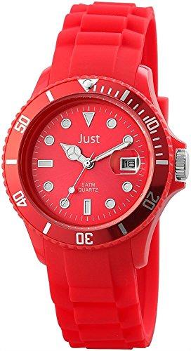 Just Damen Herren Armbanduhr 48-S5457 Silikonarmband Analog Datum Wasserdicht Quarz 48-S5457 (Rot)
