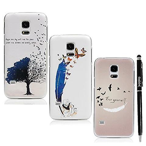 Badalink Hülle für Samsung Galaxy S5 Mini 3 Stück Hülle PC Hardcase Bunt Cover Fliegende Vogel Muster Feder Schmetterling Handyhülle Shell+Eingabestift Kapazitive Stylus