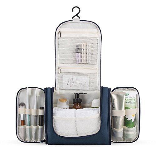Beauty Case da Viaggio, AGPTEK Borsa per Toilette Impermeabile con Gancio e Maniglia per Organizzare Accessori Bagno, Trucco, Cosmetici, kit di Rasatura e Creme ect, (Blu Scuro)