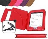 DURAGADGET Funda Roja De Cuero En Estilo De Libro Para El Nuevo Kindle Touch, Wi-Fi,6″ De Amazon (Última Generación, Marzo 2012) + Cargador De Coche