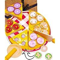 Jaques of London Pizza Party Juego de Comida de Juguete de Madera - Juguetes de Comida y Cocina con múltiples Beneficios - Juguetes de Madera de Calidad Desde 1795