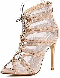 Damen Schnür Pumps Sandaletten Transparent Party Blogger Peep Toe 1194 999eaae904