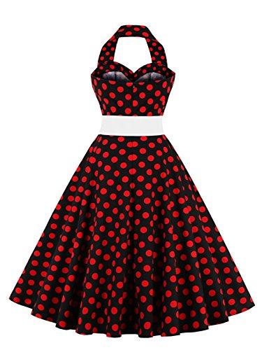VKStar® Retro Chic ärmellos 1950er Neckholder Audrey Hepburn Kleid / Cocktailkleid Rockabilly Swing Kleid Rote Punkte