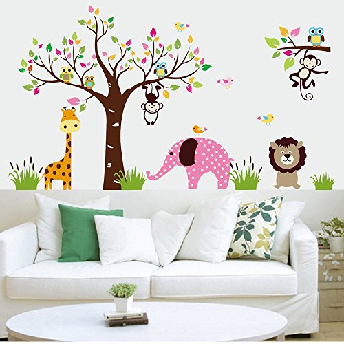 ElecMotive Cartoon Forest Animal Elephant Monkey Lion Giraffe Owls Wall Sticker Diy Posters Removable Art Decals for Kids Rooms Decoration by ElecMotive