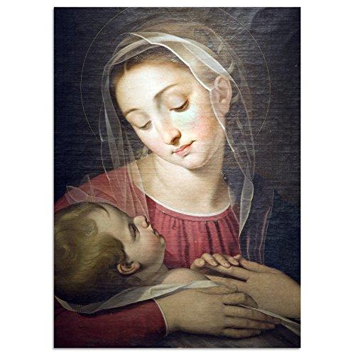 Cuadros Lifestyle Leinwandbild Wanddekoration | Heilige Madonna | Maria Ikone Jesus Maria mit Kind | Christus, Größe:60x90 cm