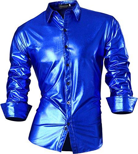 jeansian Herren Freizeit Hemden Bronzing Slim Button Down Long Sleeves Dress Shirts Tops Z036 (USA XL (180-185cm 75kg-80kg), (Top Kostüme Männer)