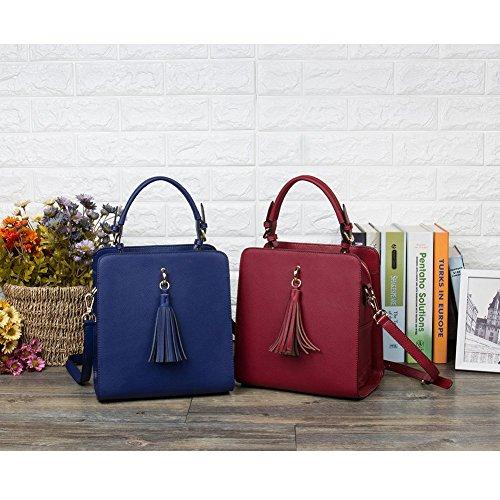 BOSTANTEN Damen Leder Handtasche Umhängetasche Schultertasche Tasche Tote Bag Grau 4-Weinrot