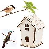 ToDIDAF Wooden Bird House, Creative DIY Wall Hanging Assembled Wooden Outdoor Bird Nest Bird House, Bird Nest Bird House Bird Box for Home Garden Decoration Accessory