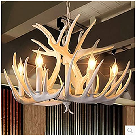 kinine Araña de resina bar, salón comedor y cafetería Mediterráneo Oriental resina blanca cornamenta candelabros