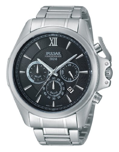 Pulsar Unisex Analogue Watch with Black Dial Analogue Display and Stainless steel plated gun metal - PT3437X1