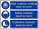 """vsafety 41014bf-s """"Helm und Schuhe zu tragen,"""" Pflicht Schutzbekleidung Schild, selbstklebend, Schutzkleidung, Landschaft, 400mm x 300mm, blau"""