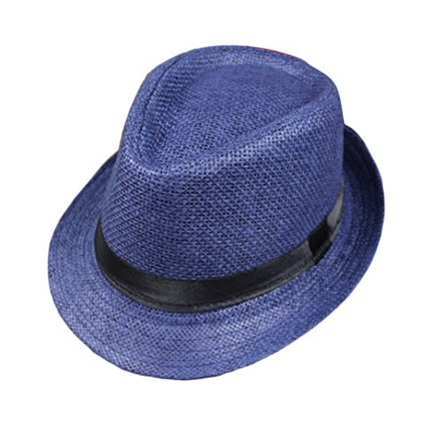 (Lazeny Unisex Strohhut Sonnenhut Jazz Hut Panamahut Sommerhut Strandhut Fedora Hut Sonnenschutz Hut Schirmmütze Streetwear Hüte Kappe (Blau))