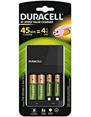 Duracell High Speed 5000547 Value Charger with 2 AA (1300 mAh) and 2 AAA (750 mAh) Rechargeable Batteries (Green)