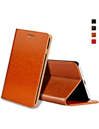 Funda iPhone 8 Plus,Funda iPhone 7 Plus,EATCYE [Ultra Fina] [Cuero Genuino] Prima Vintage Carcasa Libro de Cuero Estuche Plegable con Billetera Diseño Delgado. [Ranuras Para Tarjeta] [Función de Soporte] [Cierre Magnético] para Apple iPhone 8 Plus/iPhone 7 Plus (Marrón)