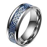 HIJONES Herren Celtic Dragon Blue Carbon Fiber Silber Edelstahl Ring Ehering 8MM Größe 54