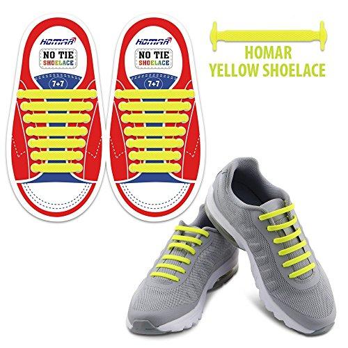 Für Schnee Griffe Laufschuhe (Homar Kids Schnürsenkel für Sneakers - Best in Sport-Fan Shoelaces - Gummi Wasserdicht Keine Krawatte Flach Schnürsenkel Perfekt für Sneaker Stiefel Oxford Laufschuhe - Gelb)