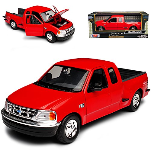 Ford F-150 F-Serie XLT Flareside Supercab Pick-up Rot 10. Generation 1996-2004 1/24 Motormax Modell Auto
