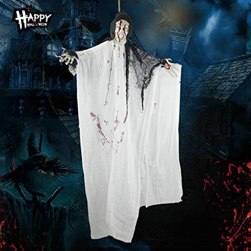 JIBO Horror Hanging Ghost Halloween Ornament Colgante Blanco Hanging Ghost Sound Control Glowing Ghosting Devils Charm